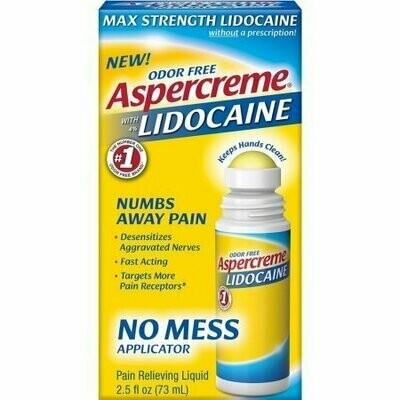 ASPERCREME Max Strength With 4% Lidocaine No Mess Applicator 2.5 oz