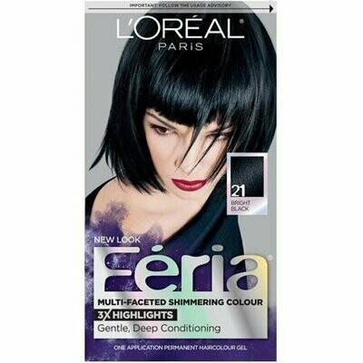 L'Oreal Feria Multi-Faceted Shimmering Colour, 21 Bright Black, 1 Each
