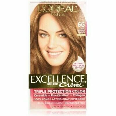 L'Oreal Paris Excellence Creme Triple Protection Hair Color, Light Golden Brown [6G] 1 each