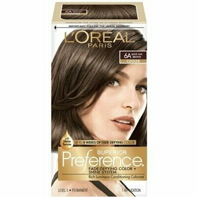 L'Oreal Superior Preference Permanent Hair Color, 6A Light Ash Brown (Cooler) 1 each