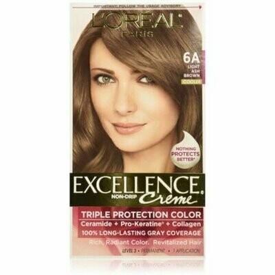 L'Oreal Paris Excellence Creme Haircolor, Light Ash Brown [6A] (Cooler) 1 each