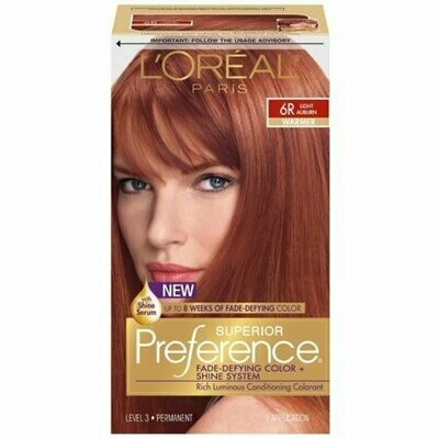 L'Oreal Superior Preference Permanent Hair Color, 6R Light Auburn (Warmer) 1 each