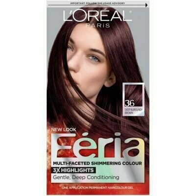 L'Oreal Feria Multi-Faceted Shimmering Colour, Warmer, 36 Deep Burgundy Brown, 1 each