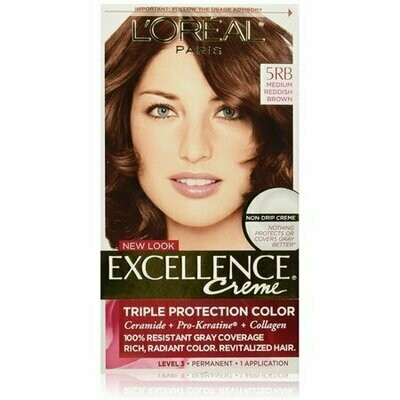 L'Oreal Paris Excellence Creme Triple Protection Haircolor, Medium Reddish Brown [5RB] 1 each