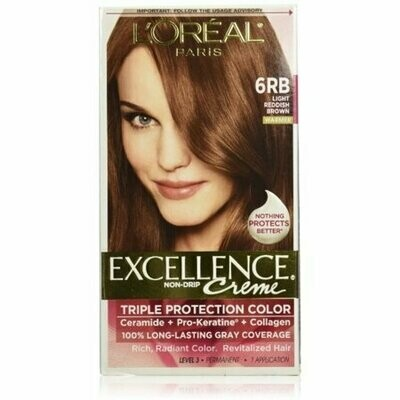 L'Oreal Excellence Creme Triple Protection Hair Color, Light Reddish Brown (Warmer) [6RB] 1 Each