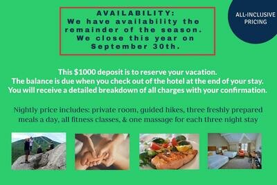 Reservation Deposit for 21 Night Extended Stay Wellness Retreat