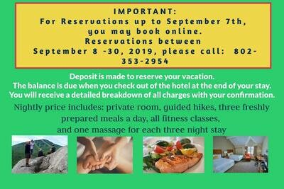 Reservation Deposit for Wellness Vacation