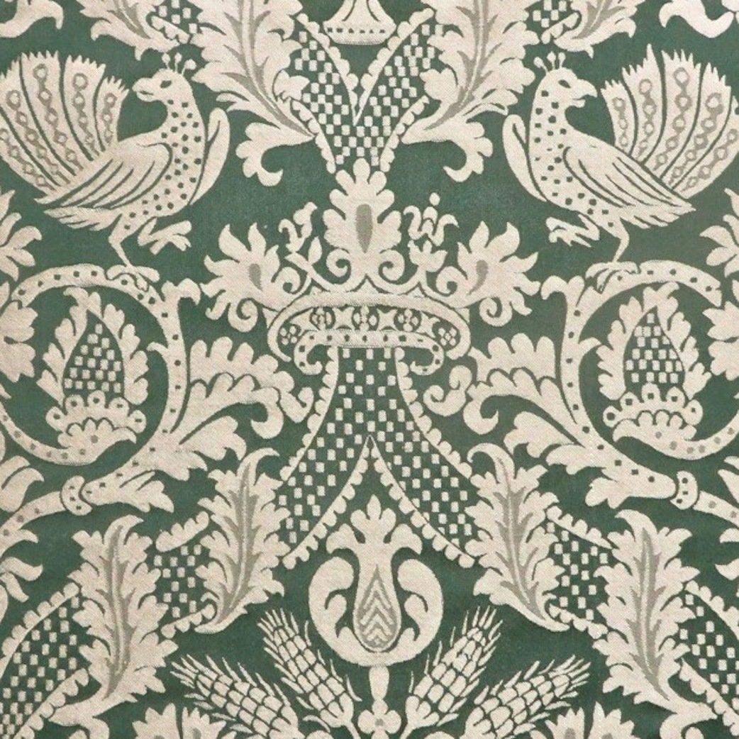 yards Dark Green Gothic Birds Crowns Motif 100% Silk Damask Designer ...