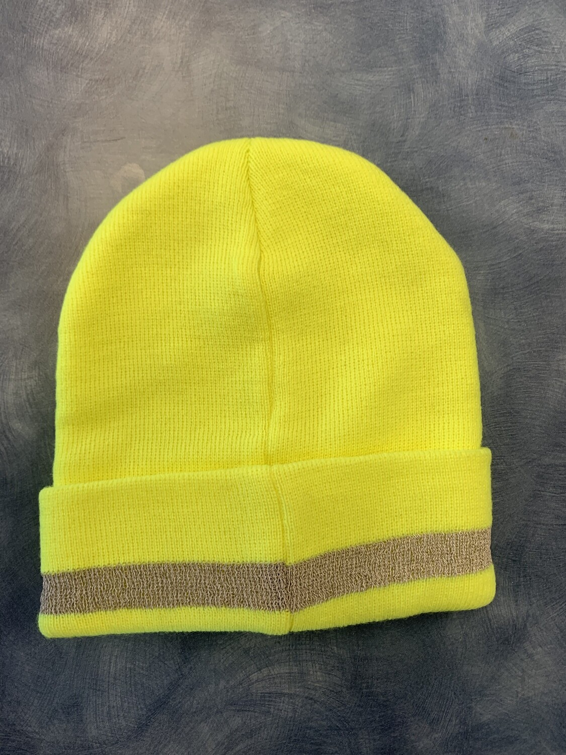 NEON COLOR KNITTED STRETCH WINTER HAT WITH REFLECTIVE STRIPE