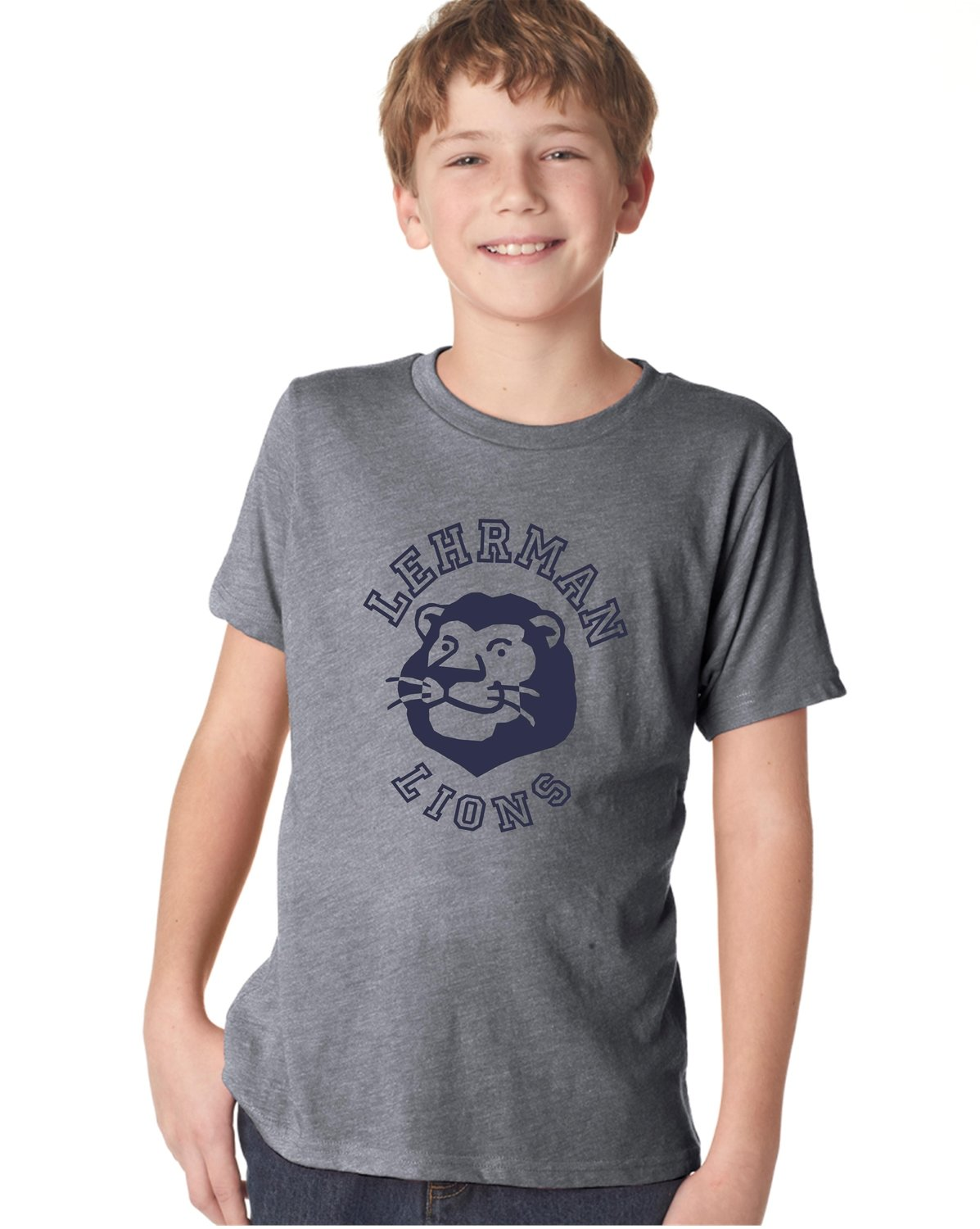 NEW! Lion Logo Soft T-shirt Grey with Navy Unisex YOUTH