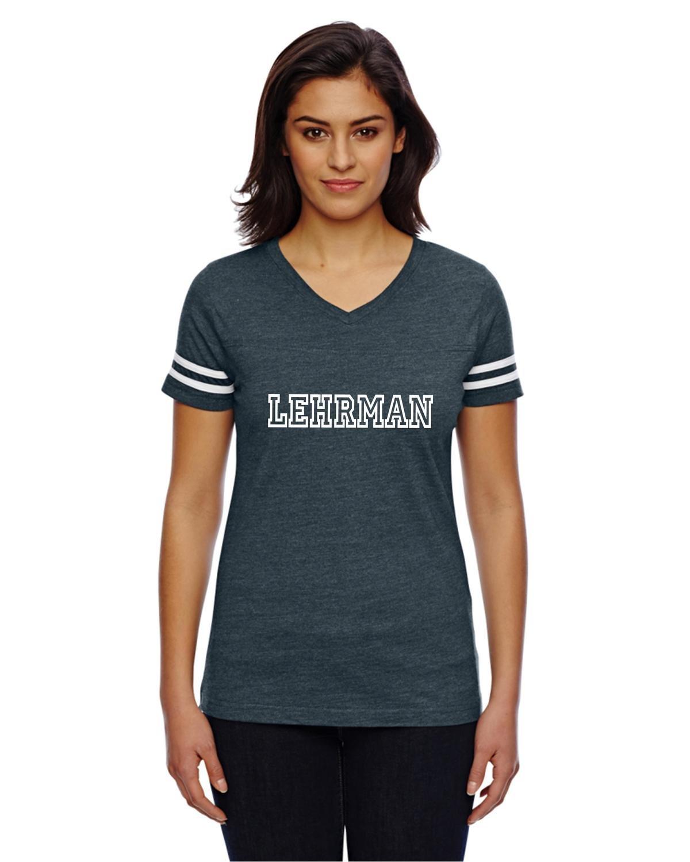 Lehrman Striped Sleeve V-Neck Slimfit T-Shirt ADULT