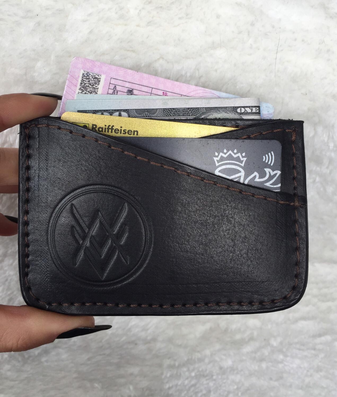 Cardholder (handmade, 100% genuine leather) - black