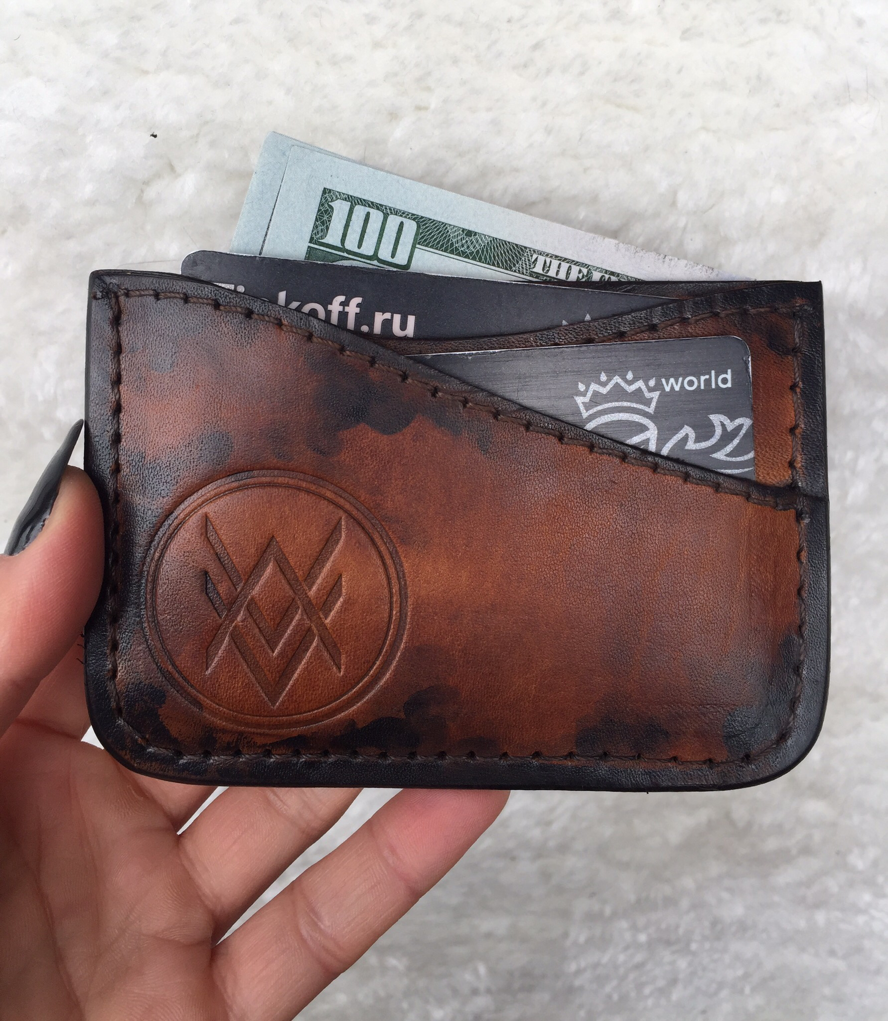 Cardholder (handmade, 100% genuine leather) - brown 00042