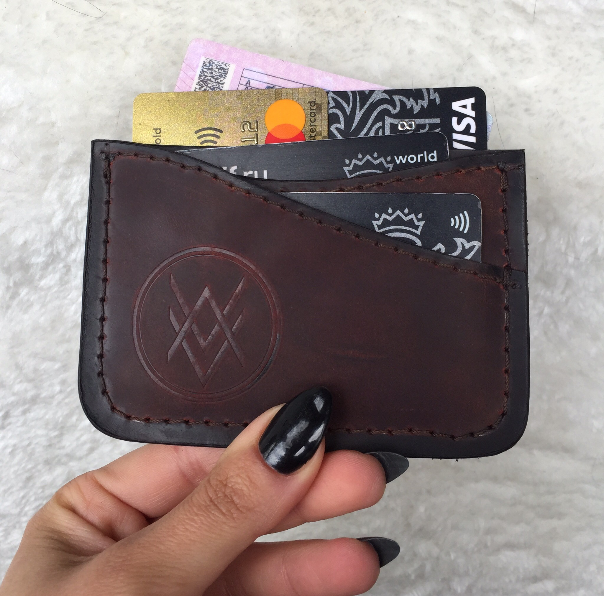 Cardholder (handmade, 100% genuine leather) - red 00043