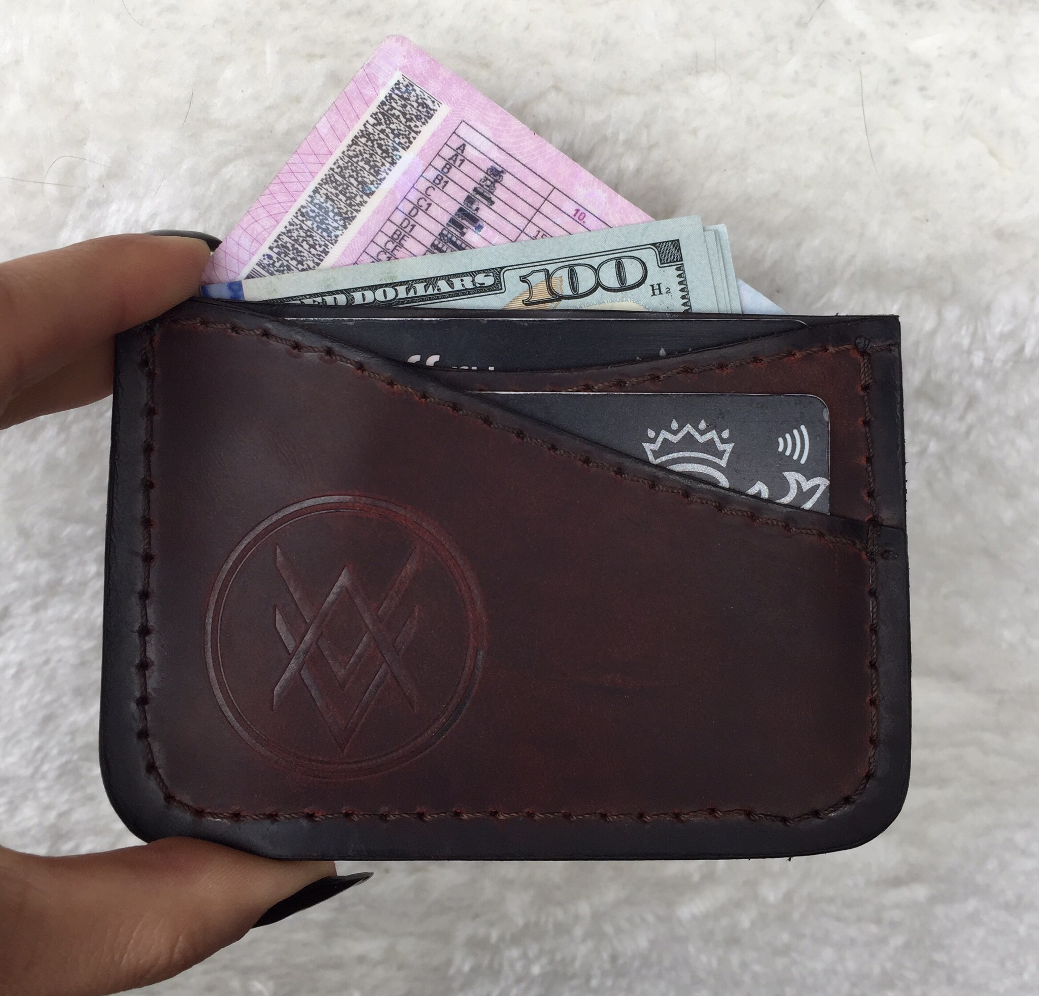 Cardholder (handmade, 100% genuine leather) - red