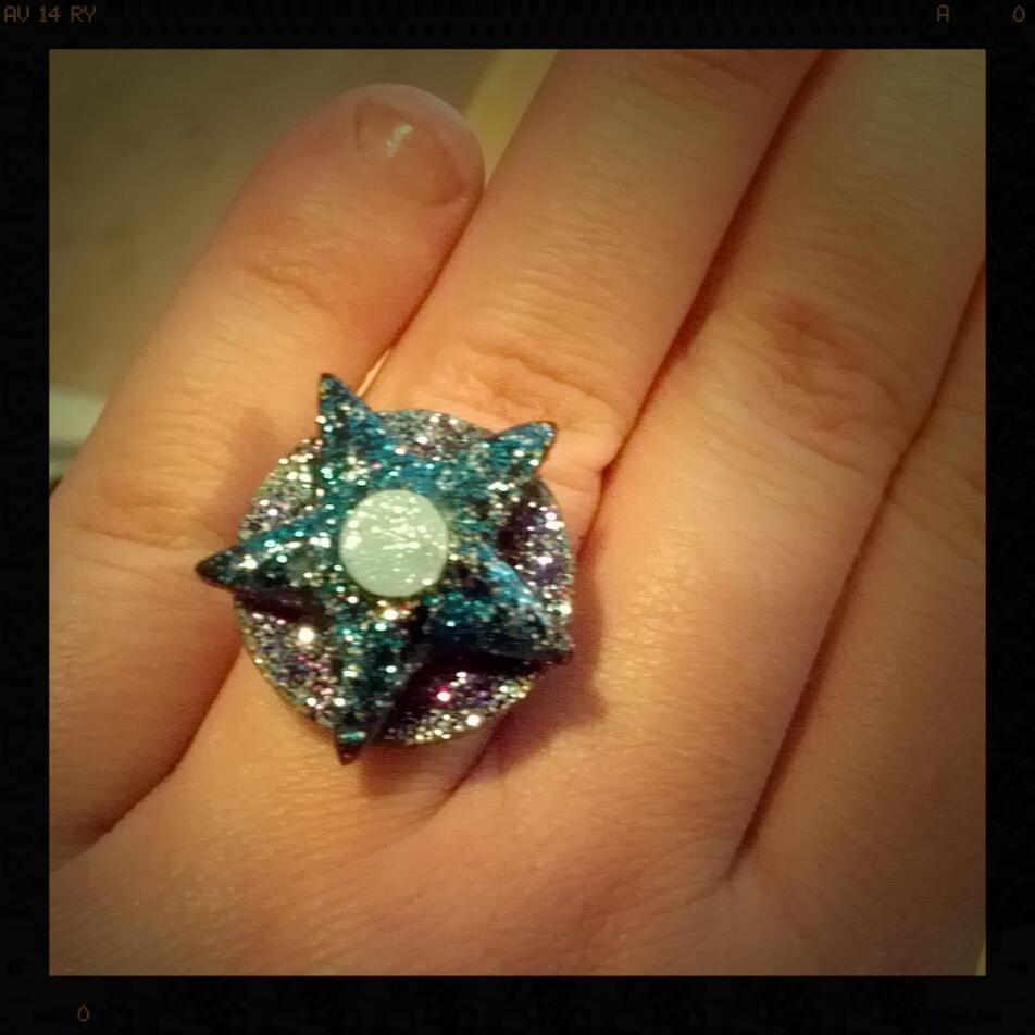 Blue Vinyl Star Ring