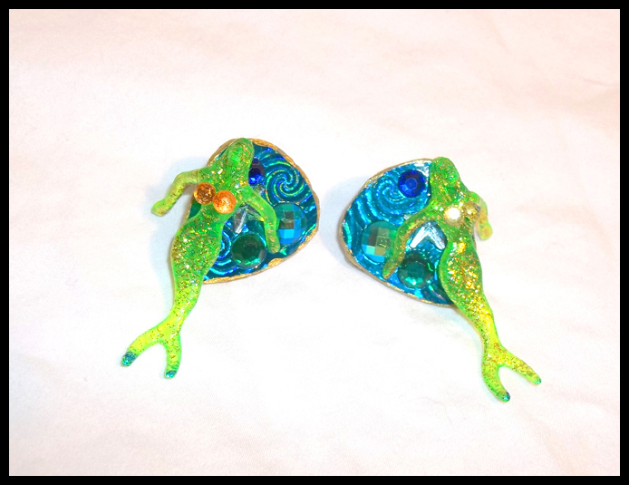 Green Cocktail Mermaid Stud Guitar Pick Earrings