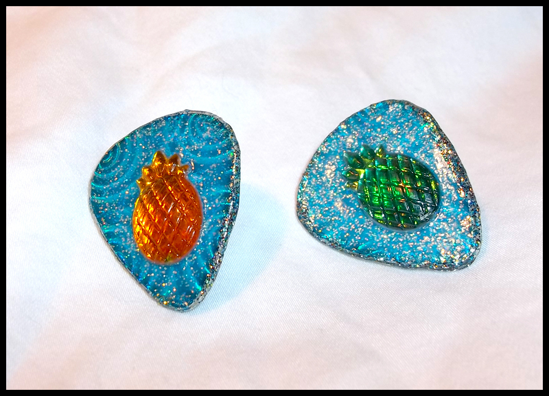 Pineapple Glitter Stud Guitar Pick Earrings