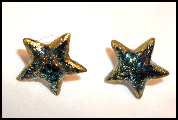 Vinyl Star Stud Earrings