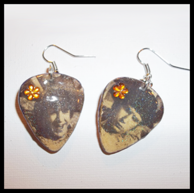 Monkees Guitar Pick Earrings with Peter & Mike