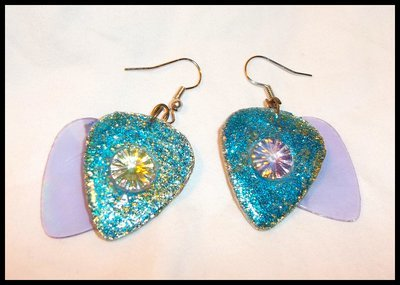 Blue Glitter with CD Picks Guitar Pick Earrings