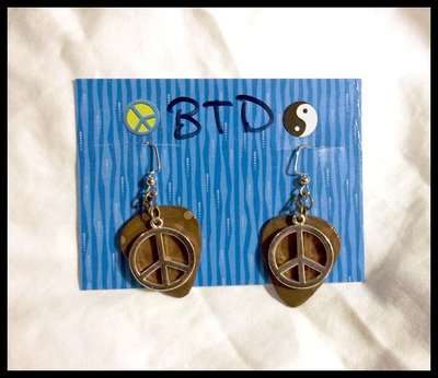 Flowers Peace Sign Guitar Pick Earrings