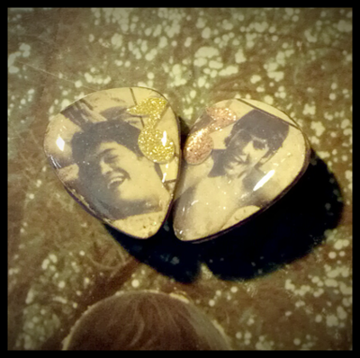 Clip On Monkees Guitar Pick Earrings