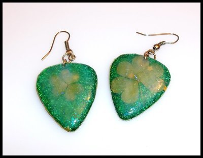 Clover Guitar Pick Earrings