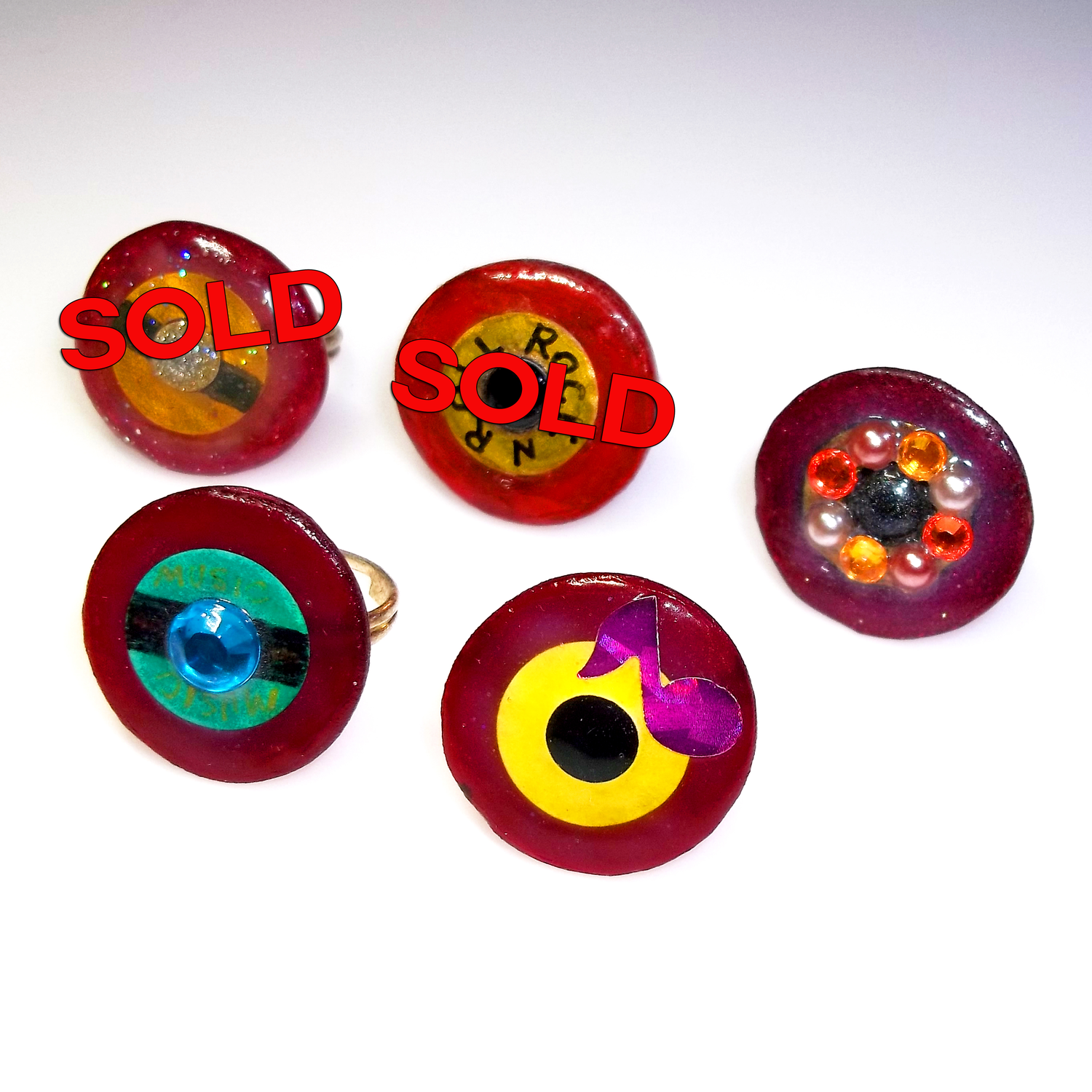 Mini Record Rings made from vinyl records