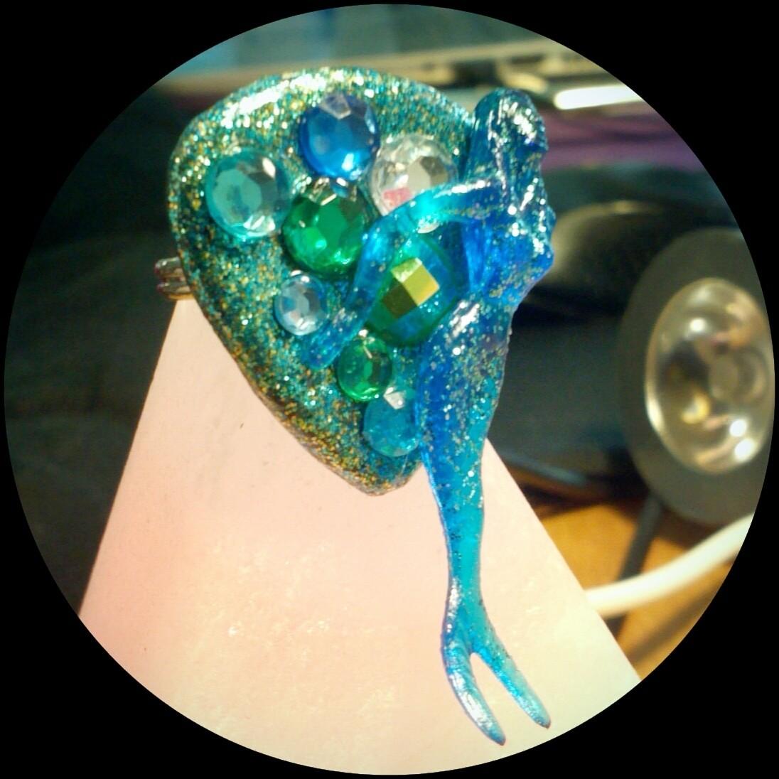 Blue Cocktail Mermaid Guitar Pick Ring