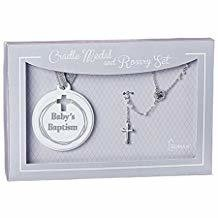 "Roman 6""H Rosary + Cradle Medal Set Grey Baby Baptism"