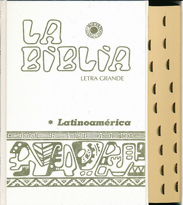 Biblia Latinoamérica, letra grande, blanca con indices