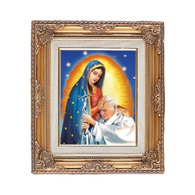 FRAMED ART GOLD ST JOHN PAUL II / OL GUADALUPE