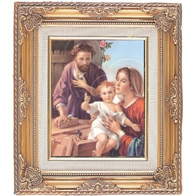 FRAMED ART GOLD HOLY FAMILY JOSEPH CARPENTER