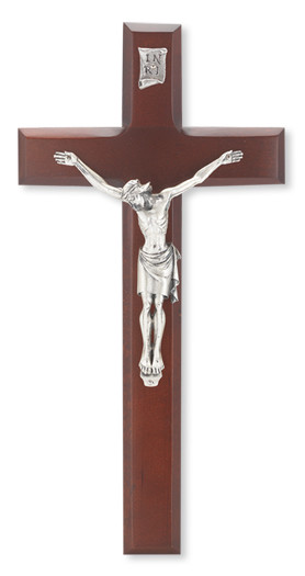 "11"" DARK CHERRY CROSS WITH ANTIQUED ITALIAN CORPUS"