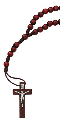 RED WOOD CORDED ROSARY