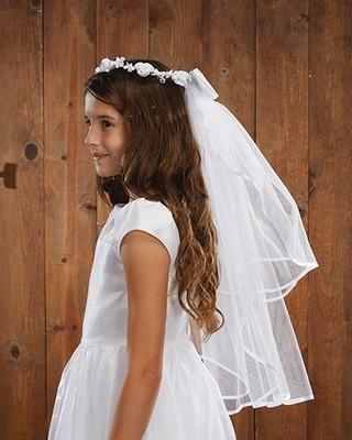 Floral Tiara First Communion Veil
