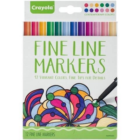 Crayola® Fine Line Markers, Adult Coloring, Vibrant Contemporary Colors, Fine Tips for Details (12 count)