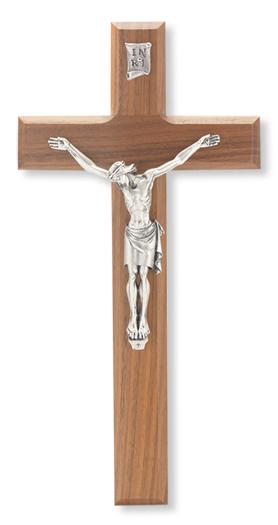 "Genuine Walnut Cross/Crucifix with Antique Italian Corpus 11"""