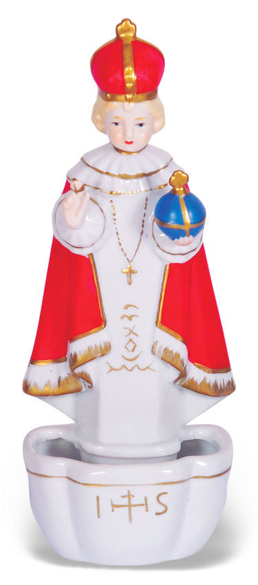 Infant of Prague Holy Water Font 7.5""
