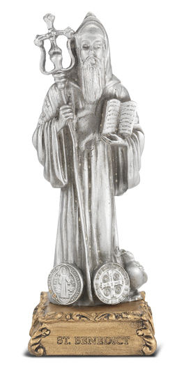 St. Benedict Pewter Statue on Base 4 .5""