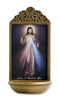 "Divine Mercy 6"" Holy Water Font"