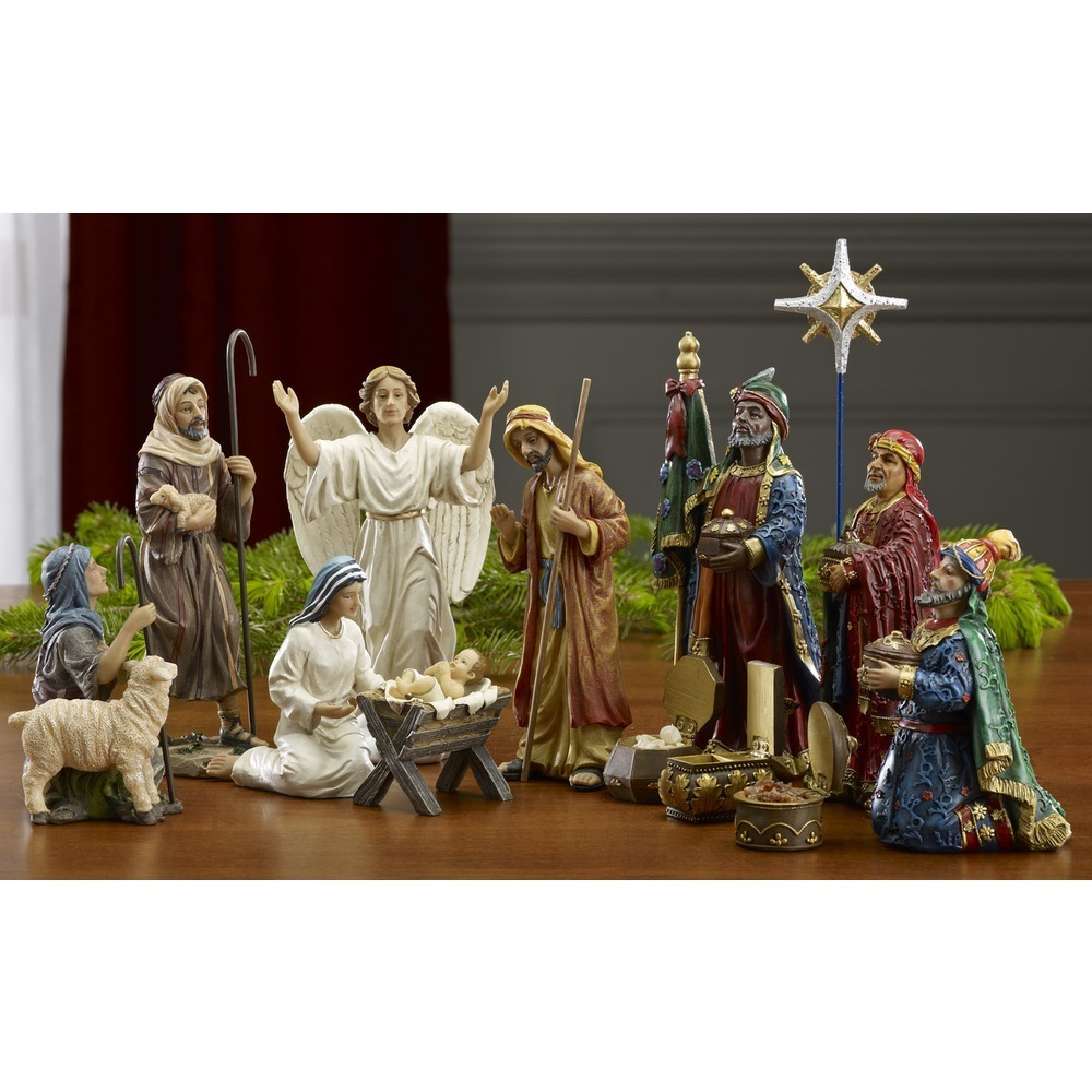 "Real Life Nativity: 7"" figures - 14 piece set - Real Gold and Authentic Frankincense & Myrrh"