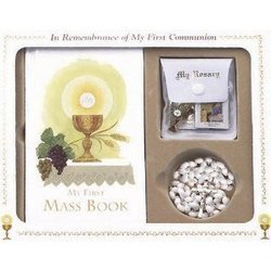 In Remembrance of My First Communion 5 PC Gift Set (White Rosary)