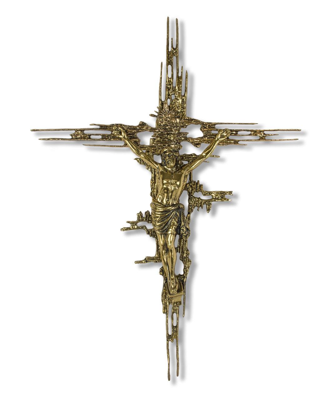 "24"" Brass Art Wall Crucifix"