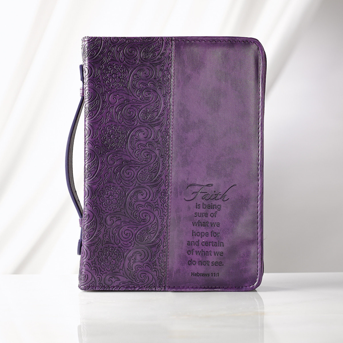 """Faith"" LuxLeather Bible Case in Purple (Medium)"