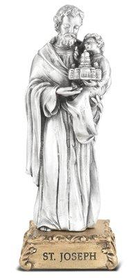 St. Joseph Pewter Statue on Base 4.5