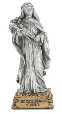 St. Catherine of Siena Pewter Statue on Base 4.5