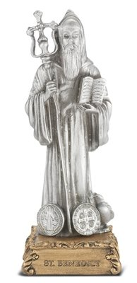 St. Benedict Pewter Statue on Base 4 .5