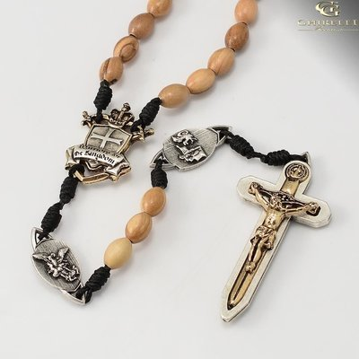 Paracord Warrior's Rosary with Olivewood Beads and Two Tone Medals